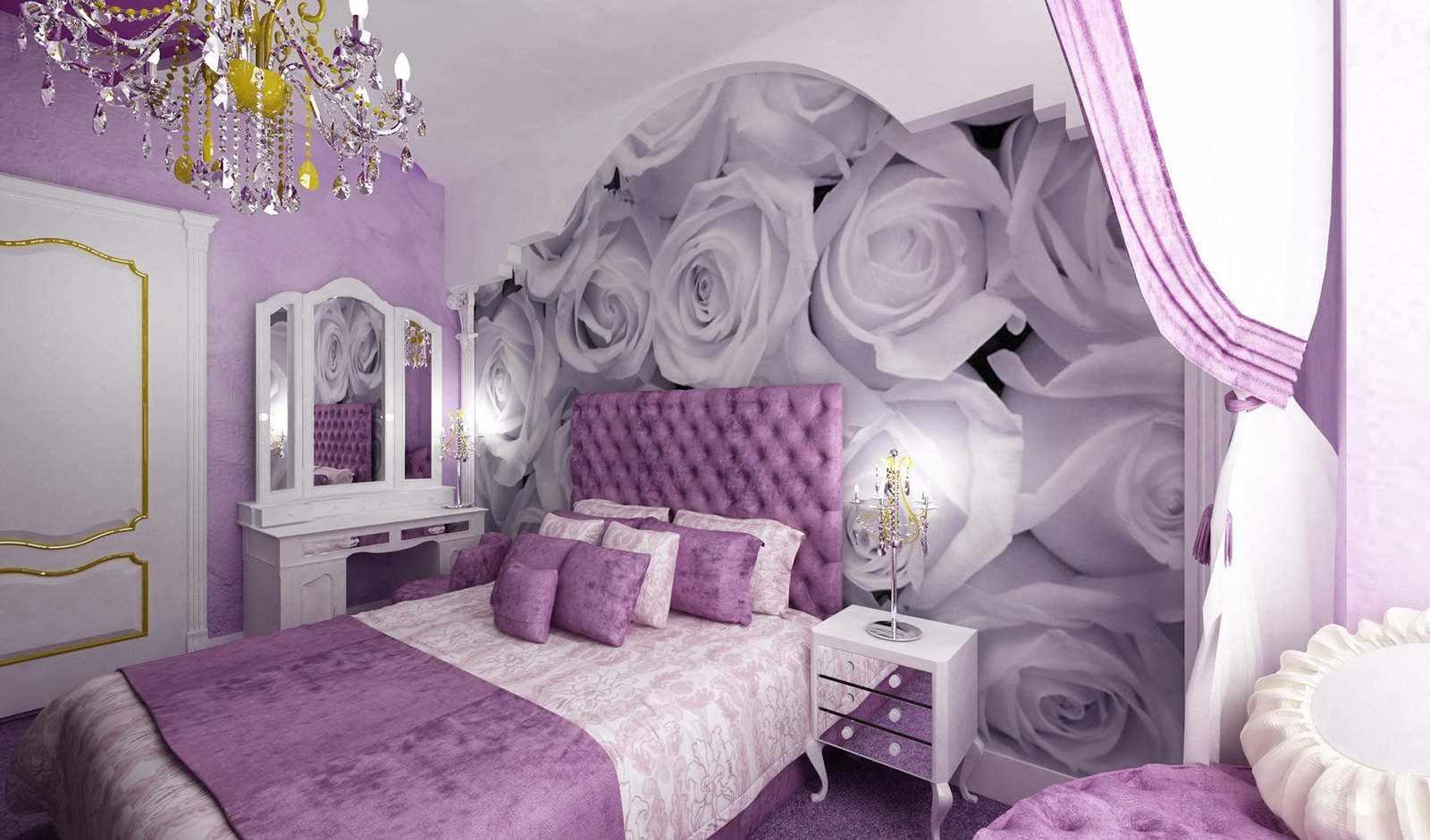 необычная сиреневая спальня