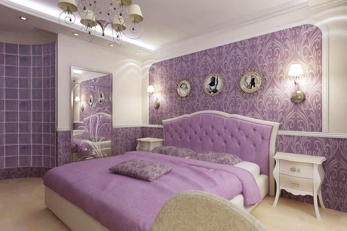 пень дизайн спальни в сиреневом цвете фото композиции