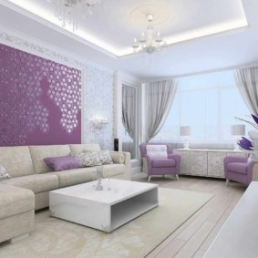 сиреневая спальня виды декора