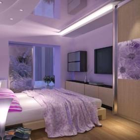 сиреневая спальня виды интерьера