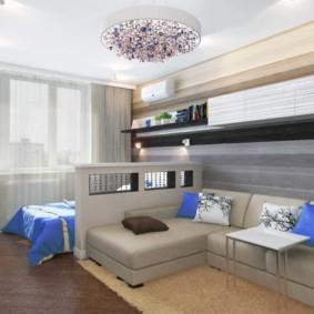 спальня-гостиная 18 кв.м. декор