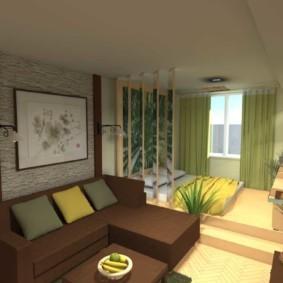 спальня-гостиная 18 кв.м. декор фото