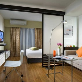 спальня-гостиная 18 кв.м. фото декор