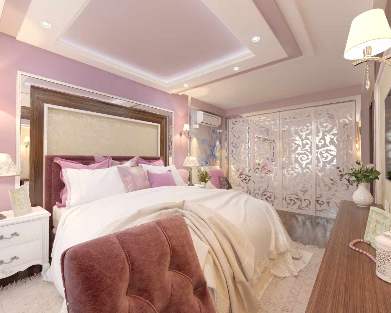 сиреневая спальня вариант дизайна