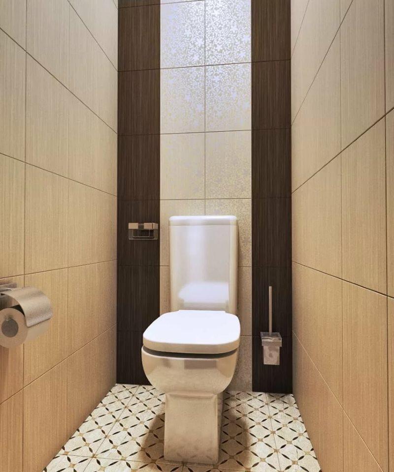 Вертикальная укладка плитки на стене туалета