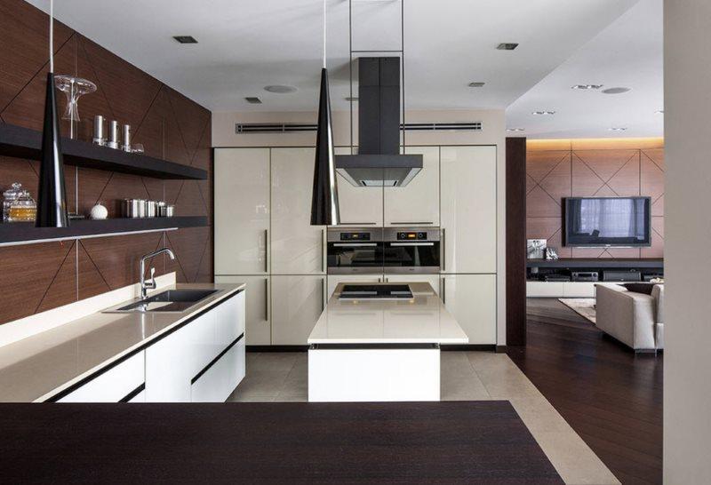 Гарнитур в стиле модерн для большой кухни загородного дома