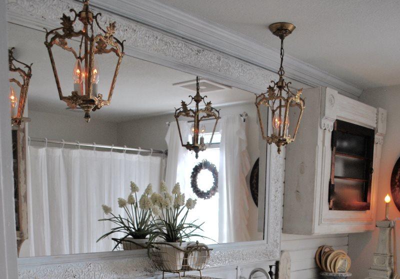 Винтажные светильники в ванной стиля шебби шик