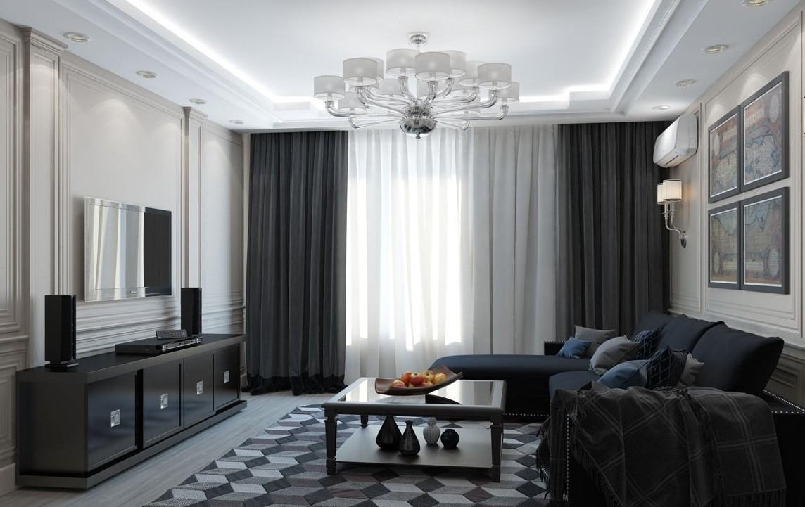 фото шторы для гостиной хай тек можно