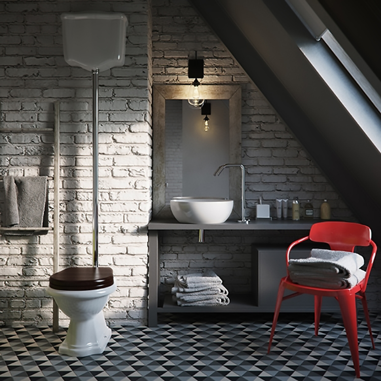Красный стул в сером туалете индустриального стиля