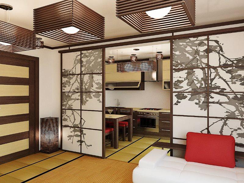 Раздвижная перегородка в кухне-гостиной японского стиля