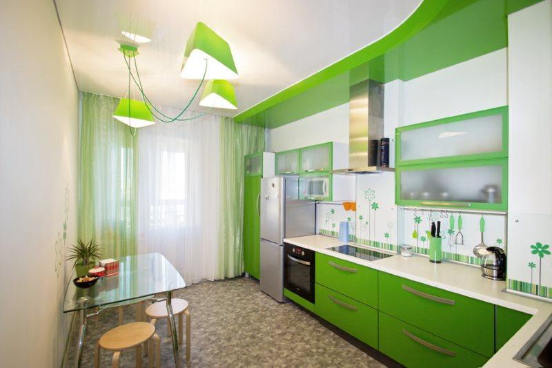 Зеленый цвет в интерьере угловой кухни