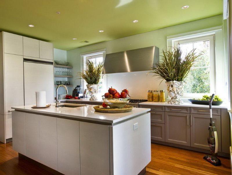 Потолок салатового цвета в кухне деревенского дома