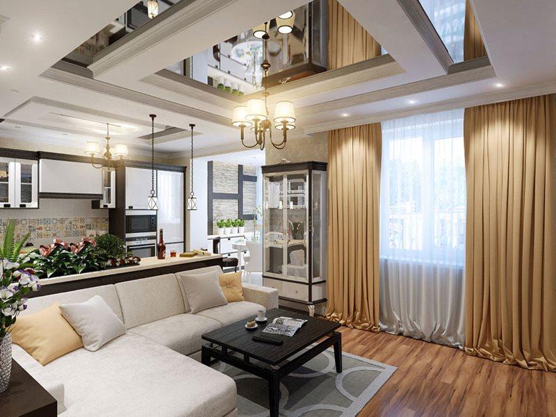 Зеркальный потолок в интерьере кухни-гостиной