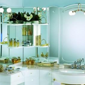 зеркальный шкаф в ванную дизайн интерьера