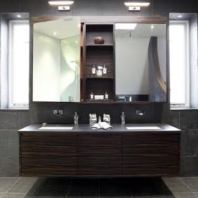 зеркальный шкаф в ванную идеи оформления