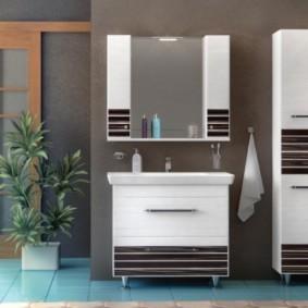 зеркальный шкаф в ванную интерьер идеи