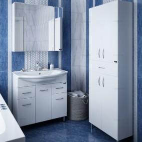 зеркальный шкаф в ванную оформление фото
