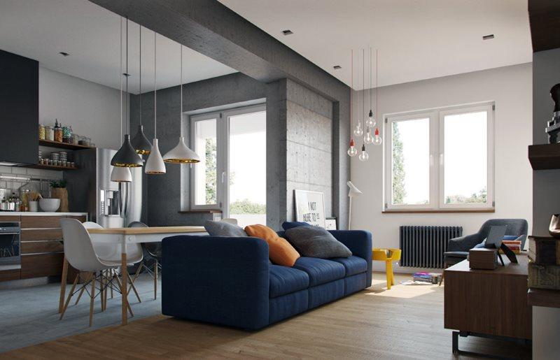 Пример зонирования кухни-гостиной с помощью цвета стен
