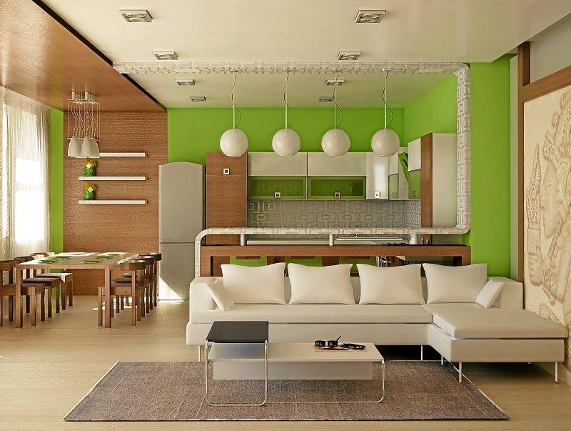 Зеленые стены в рабочей зоне кухни-гостиной