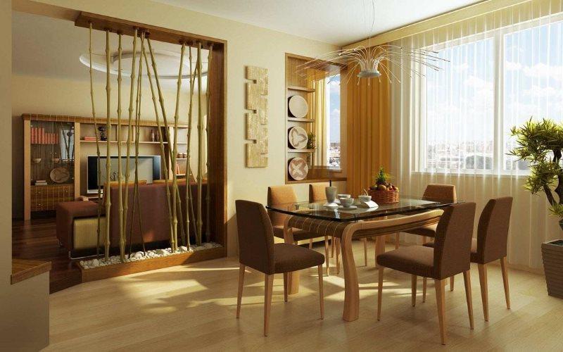 Зонирование кухни-гостиной перегородкой