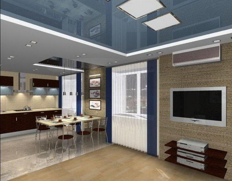 Глянцевое полотно натяжного потолка в кухне-гостиной