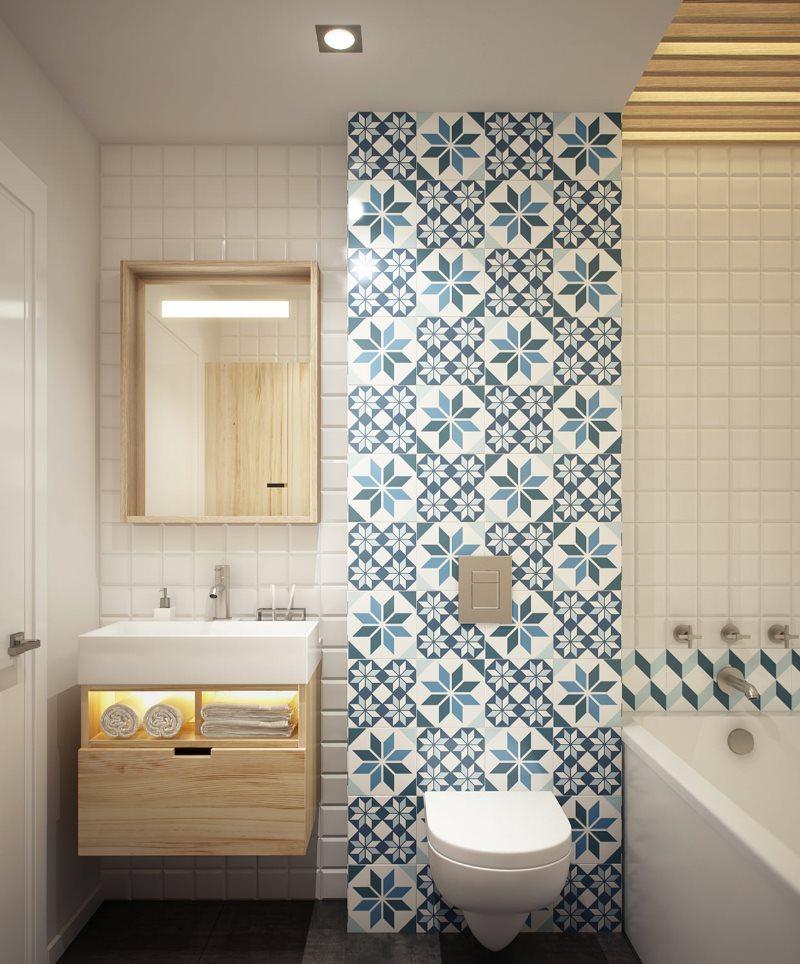 Зонирование ванной комнаты настенной плиткой
