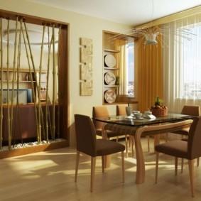 дизайн кухни столовой с бамбуком