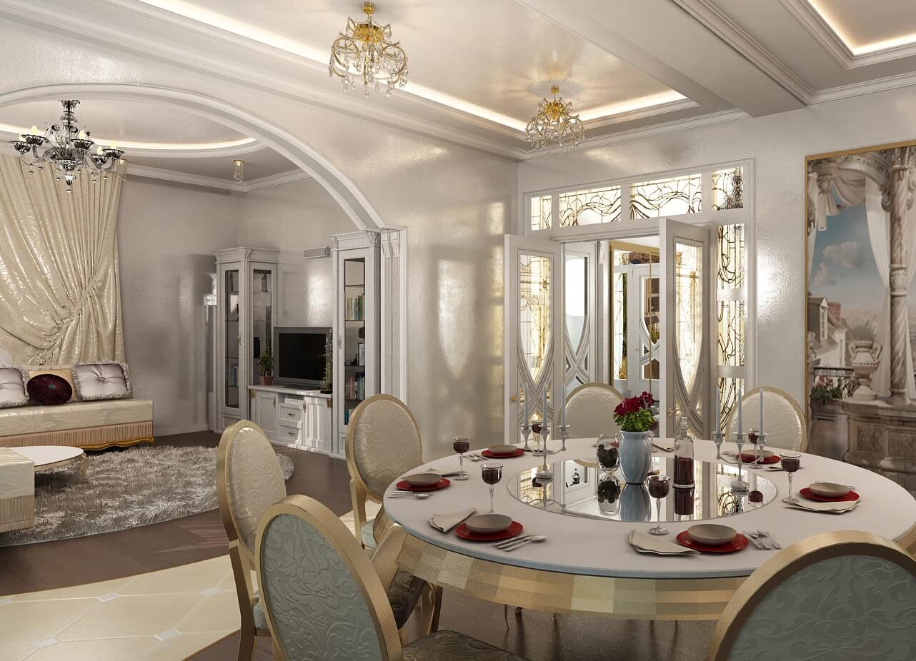 дизайн кухни столовой с аркой