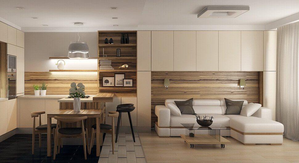 дизайн кухни столовой минимализм