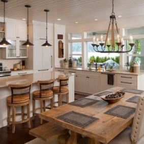 уютный дизайн кухни столовой