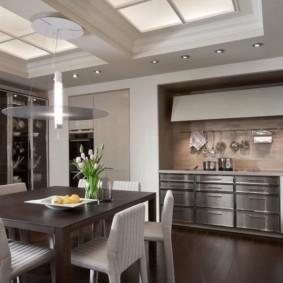 удобный дизайн кухни столовой