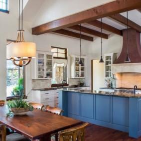 удобный интерьер и дизайн кухни столовой
