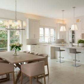 дизайн кухни столовой в доме