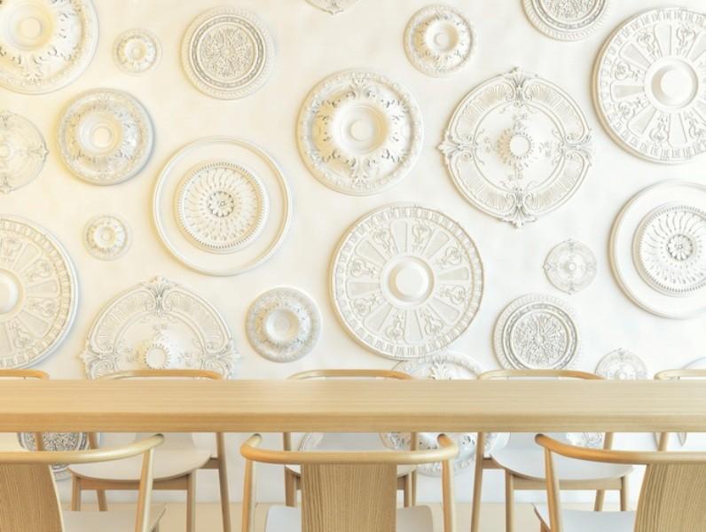стены на кухне с розетками из пенополистирола