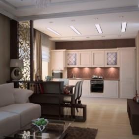 дизайн кухни столовой с мебелью