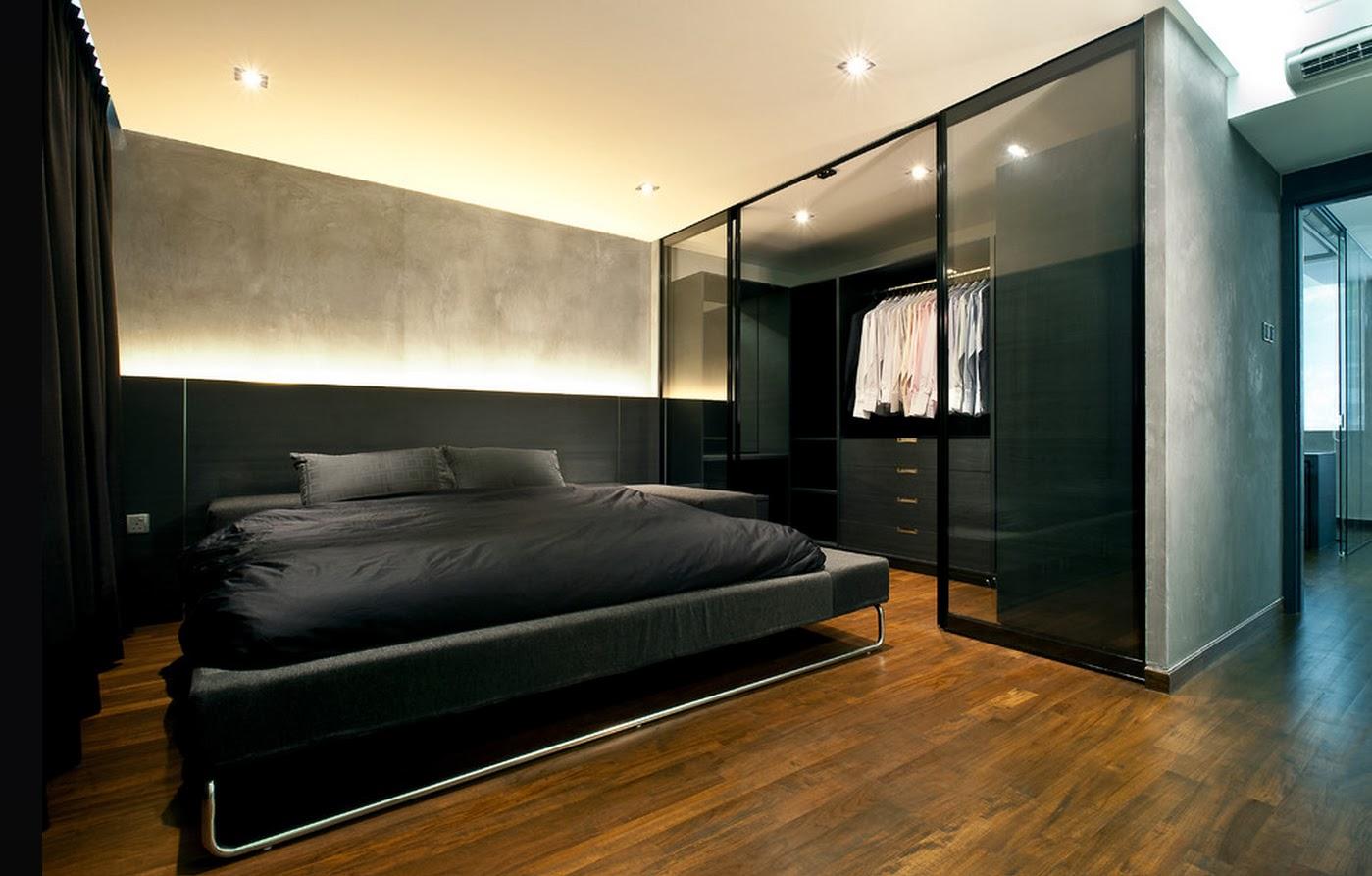 темный встроенный шкаф купе в спальне