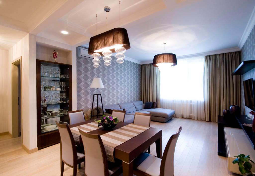 дизайн кухни столовой гостиной