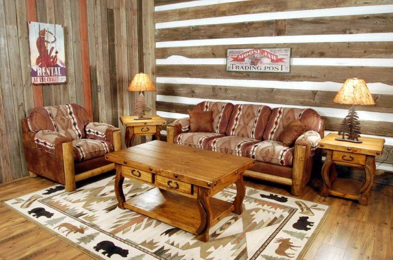Зона отдыха в гостиной в стиле американского кантри