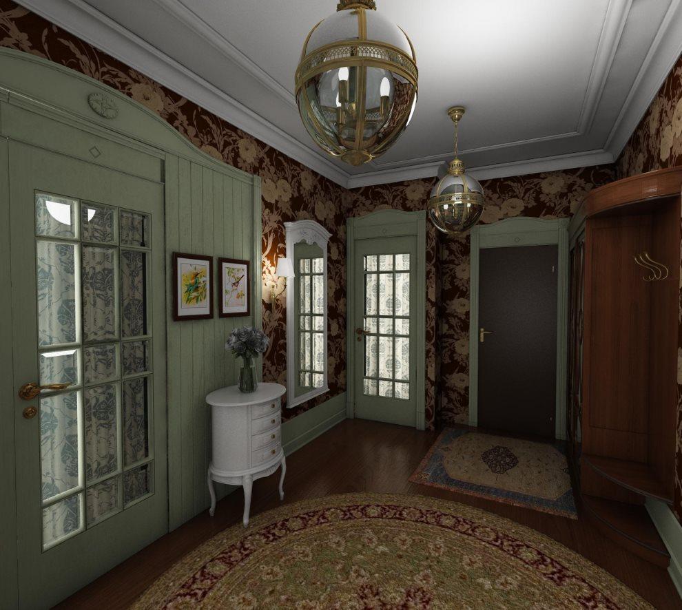 Интерьер прихожей частного дома в английском стиле