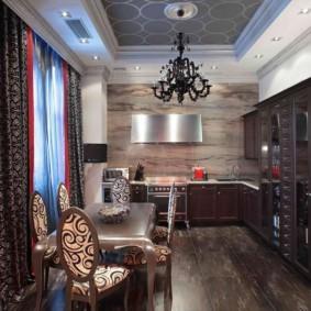 Черная люстра на потолке кухни в стиле арт-деко