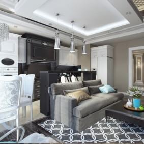 Дизайн квартиры с двухуровневым потолком