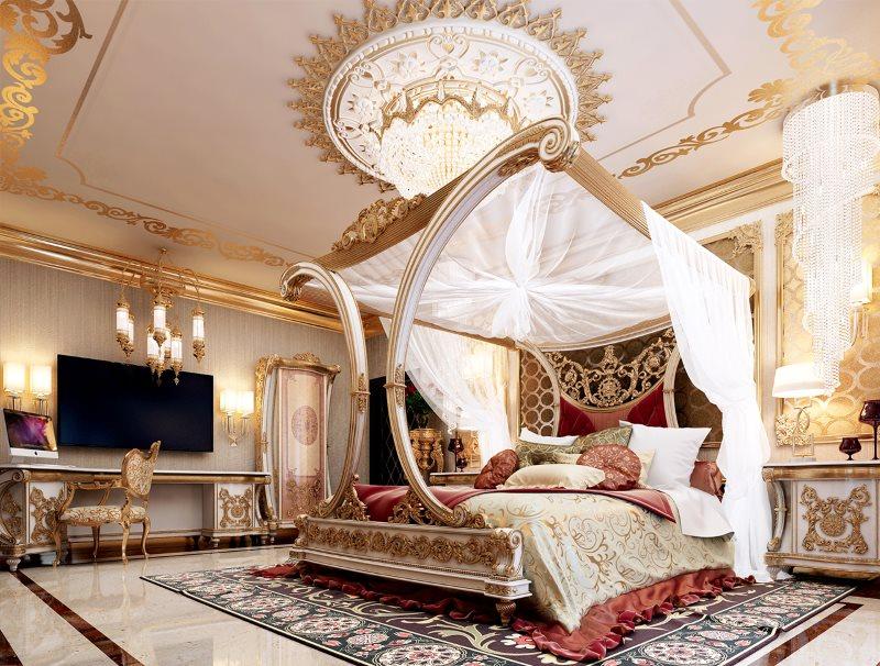 Интерьер роскошной спальни в турецком стиле