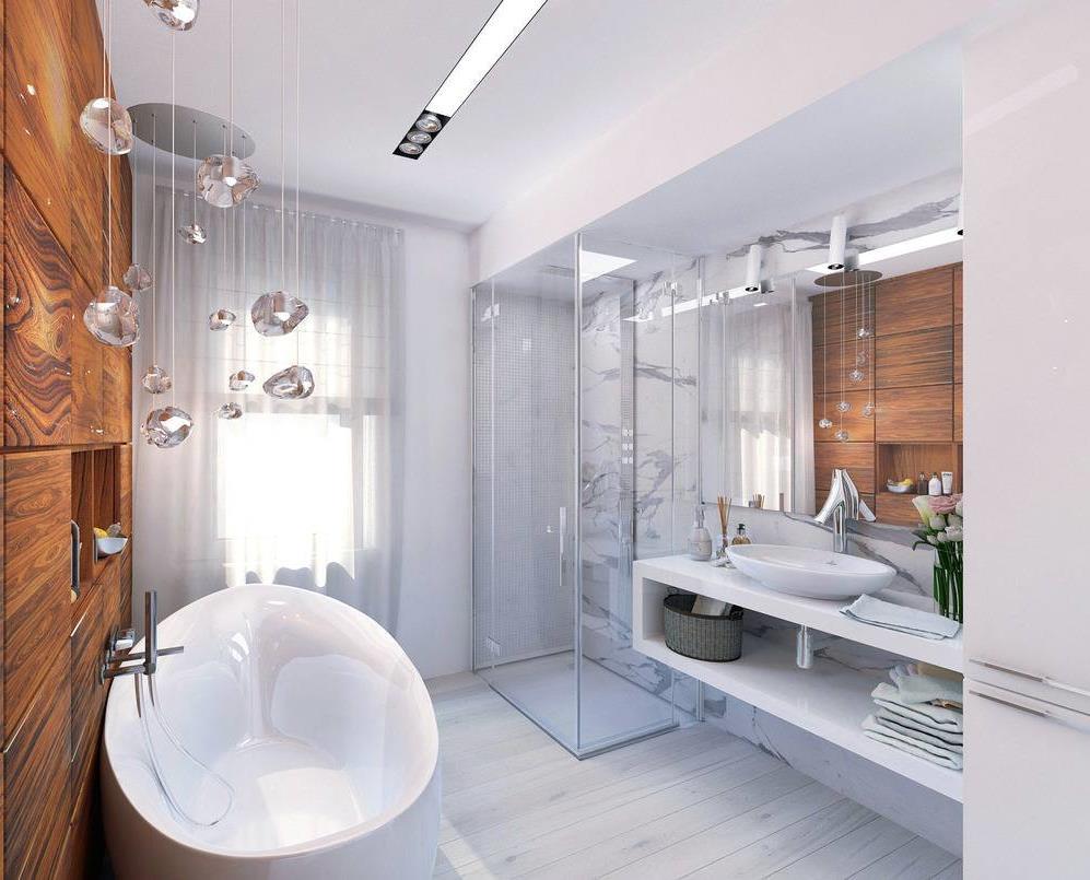 Подвесная тумба в ванной с угловым душем