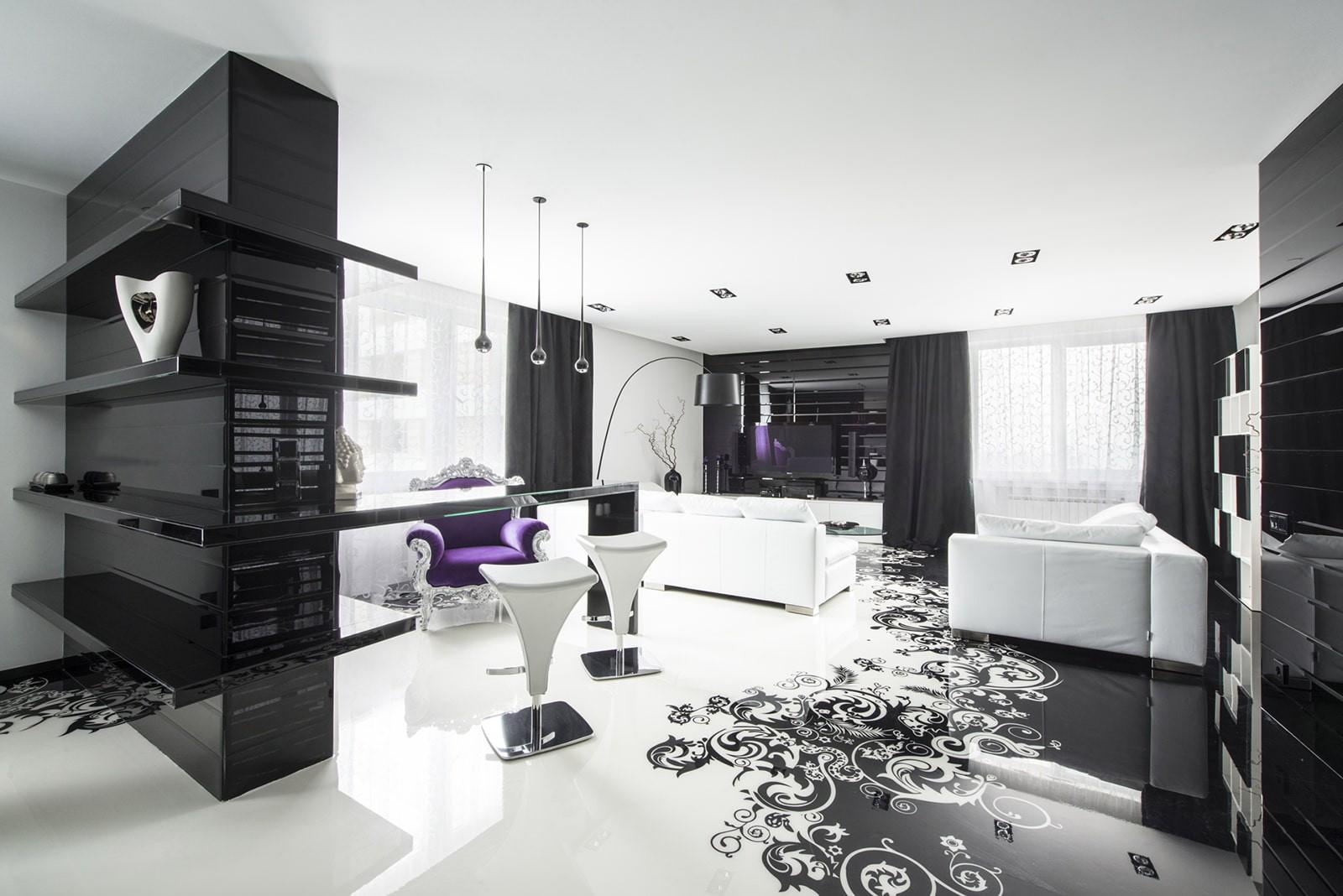 черно белая квартира