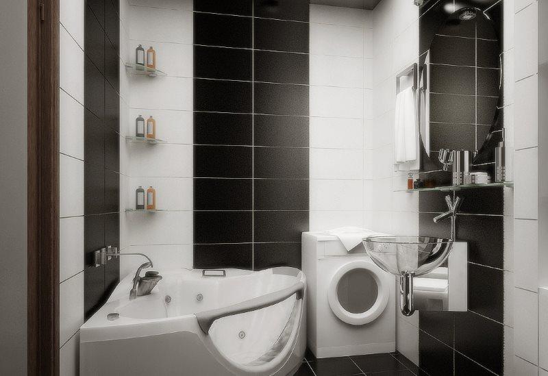 Полосы из черной плитки на стене ванной небольшого размера