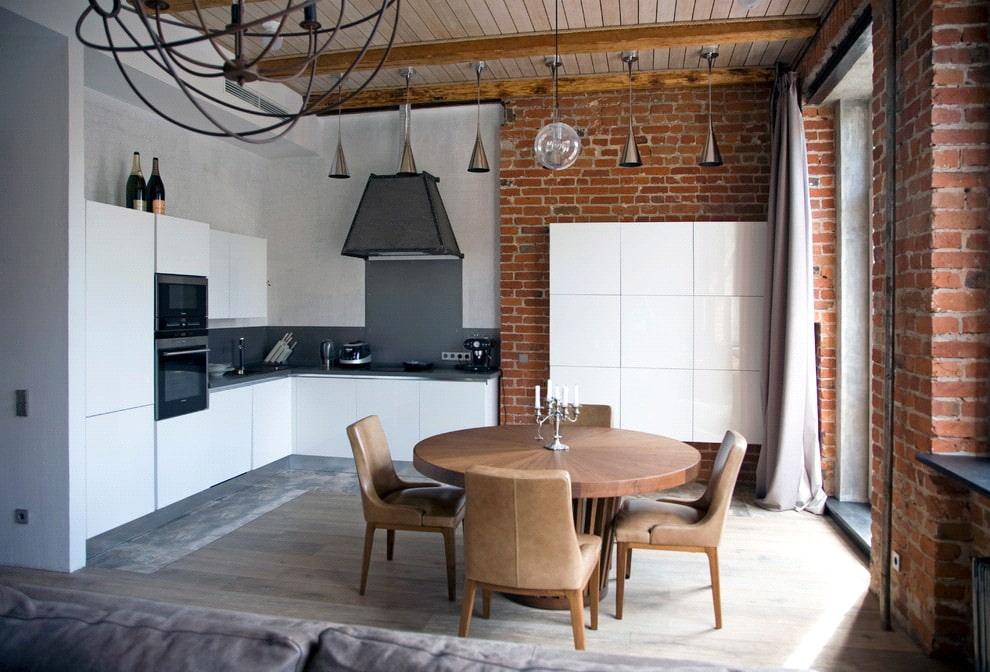 Черно-белый лофт в интерьере кухни