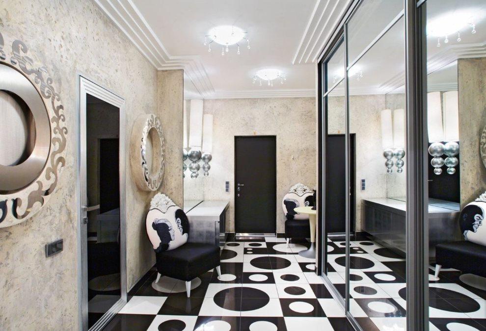 Черно-белый пол в прихожей стиля арт-деко