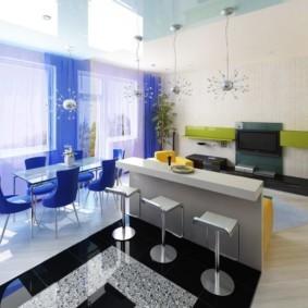 кухня студия в квартире зонирование