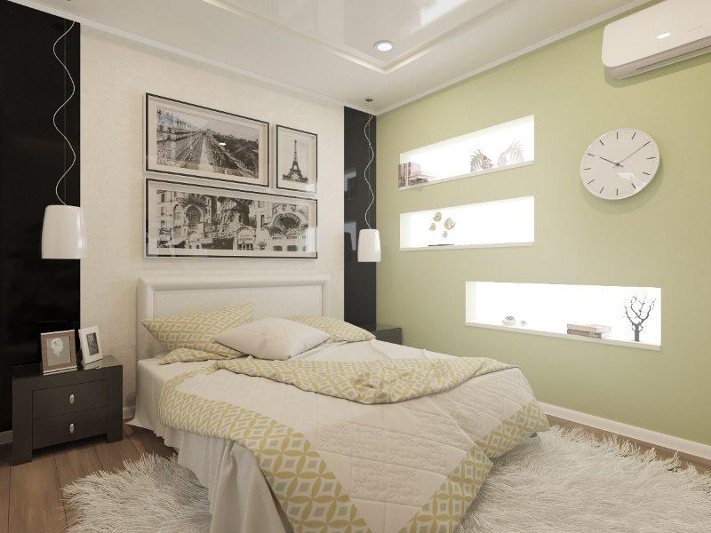 Декор светлой спальни без окна
