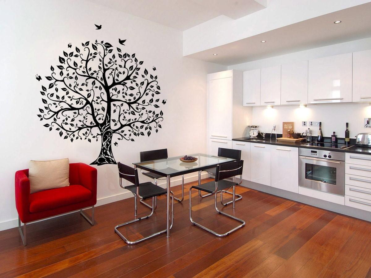 декор стен на кухне виниловыми наклейками